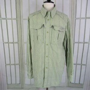 Cabela's Guidewear Men's 2XLT Green Check Shirt